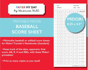 Midori Travelers Notebook Baseball Score Sheet | 2-Page Printable Baseball or Softball Score Sheets for MTN Notebooks