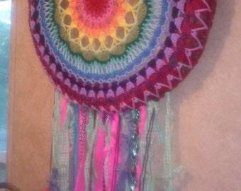 large crochet rainbow mandala dreamcatcher