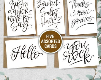 Assorted Cards - 5 Pack // Greeting Cards // All Occasion Cards // Writing // Just Because // Hello card