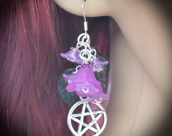 Summer Flowers Pentacle Earrings - Purple - Pagan Jewellery, Wicca, Solstice