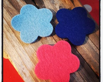 set of 3 felt tones flowers blue and pink