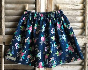 Navy floral skirt, infant/toddler/girl skirt, handmade clothing