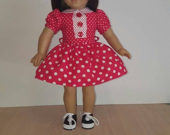 """Mid-century American Girl Doll Dress.  Good for Maryellen, Melody, Kit Or Any Other 18"""" Soft-Bodied Doll."""