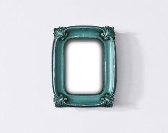 Antique Blue Ornate Frame, Baroque Photo Frame, Vintage Photo Frame, Wedding Distressed Frame, Edwardian Style, Cottage Decor, Nursery Decor