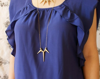 Statement necklace, Long spike statement necklace, gold spike geometric cylinder bead