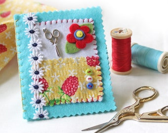Sewing Needle Case, Blue Felt Needle Book with an Appliqued Floral Design, Seamstress Gift
