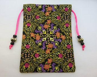 Floral Knotwork Fully Lined Tarot Pouch, Tarot Bag, Handmade 5 x 7
