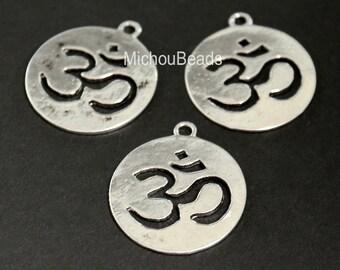 5 Antiqued SILVER 23mm Round Flat OM Symbol Charm - 23mm Ohm Yoga Meditation Buddhist Symbol Charm Pendant - Nickel Free - USA - 5583