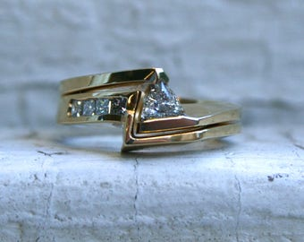 Vintage 14K Yellow Gold Trillion Diamond Wedding Set - 0.50ct.