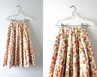 Vintage Swing Skirt | 1950s Full Pleated Cotton Print Swing Skirt XXS Deadstock