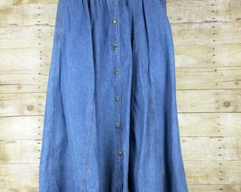 Vintage Skirt Blue Denim Midi Women's 8 S Chauss Sport