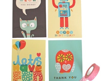 Buy 3 Get 1 FREE Greetings Cards / Hand Drawn Lettering / Promo Deal / Greetings Card / Cute