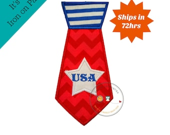 Shirt tie iron on applique, red white and blue, 4th of July embroidered fabric iron on patch, large patriotic shirt tie iron on