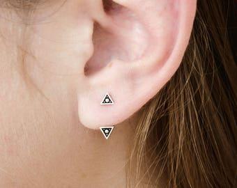 Sterling Silver Triangle Ear Jacket Earrings Ear Cuff Earrings Boho Jewelry - JKT007SSO