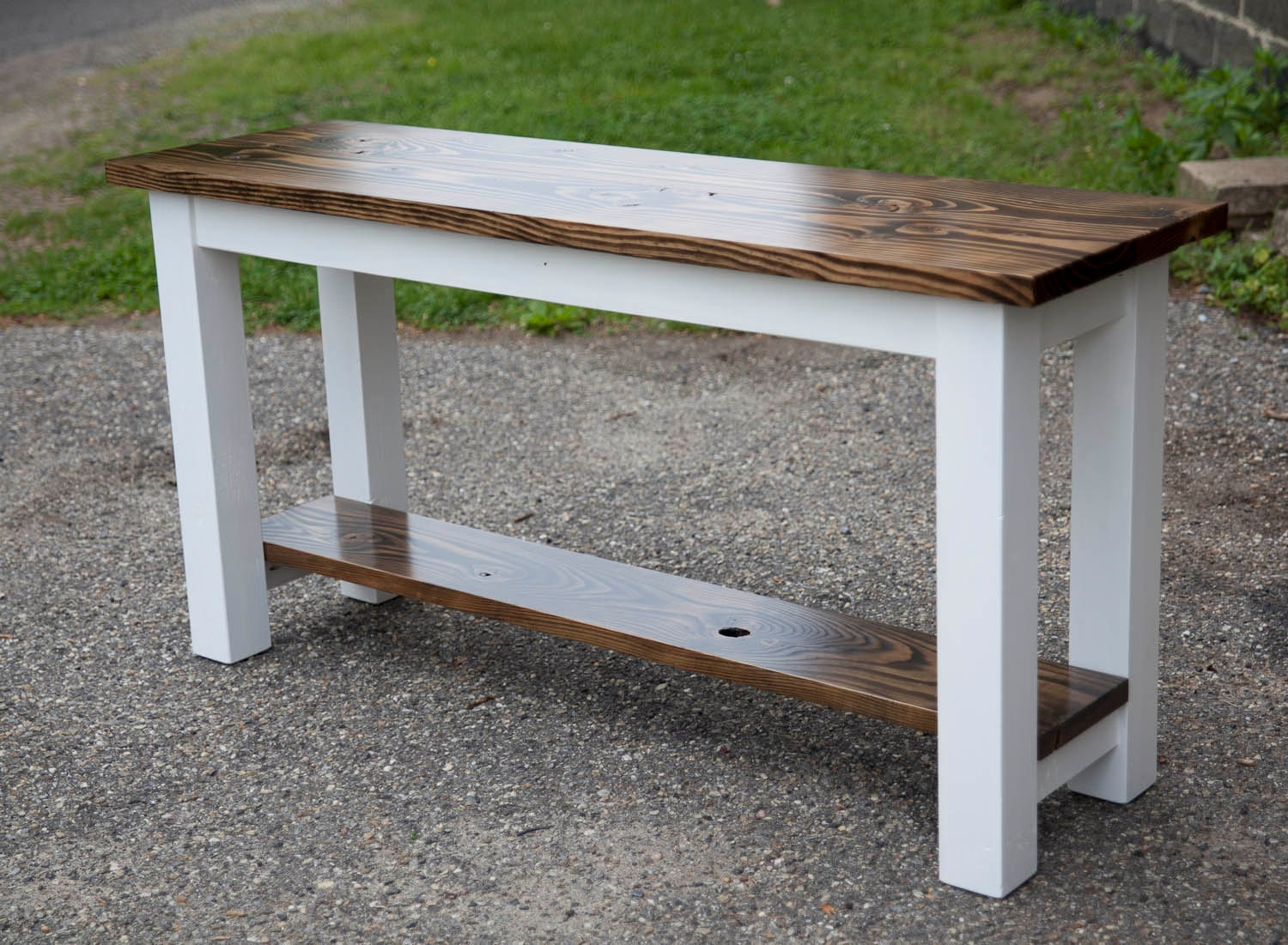 Solid wood sofa table entryway buffet built
