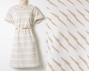 Mod Dress, 60s Dress, Vintage Ivory Dress, Mad Men Dress, 60s Brown Dress, Vintage Cream Dress, 60s Shift Dress - L/XL