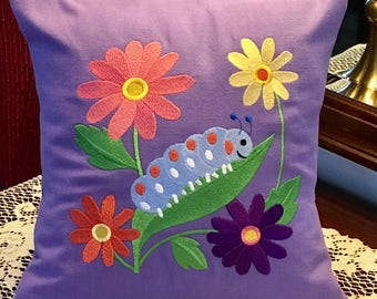 """Flower Pillow Cover w Daisy, Caterpillar, 12"""" embroidered pillow cover, home spring decor-Ready to Ship"""