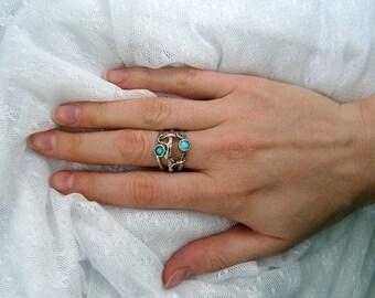 Opal ring. Sterling silver ring. Silver opal ring. Wide silver ring. Open work opal ring. (sr-9912-1301). opal jewelry