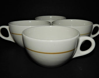4 Walker China Vitrified 4-51 Coffee Cup Yellow Stripe Restaurant Diner 1970 USA