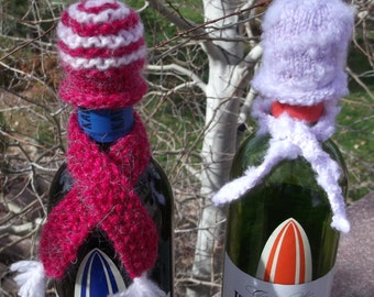 Wine Cozy Set of Two - FREE SHIPPING - Hand knitted hat and scarf set