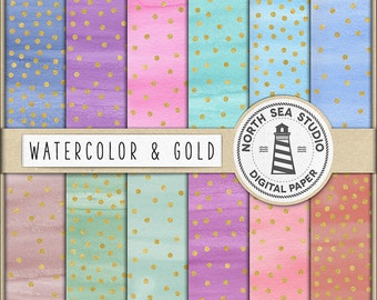 AQUARELE & GOLD, Watercolor And Gold Confetti Digital Paper, Colorful Watercolor Paper, Navy, Mint, Green, Pink, Commercial OK, BUY5FOR8
