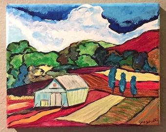 "Original ARTWORK Painting ""The Old Barn"" Landscape ACRYLIC 8"" x 10"" 1/1"