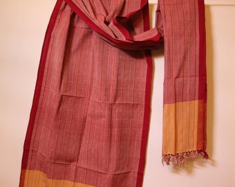 The 'Romila' Burgundy and Mustard Striped Scarf from Weaving Destination 100% Organic Cotton
