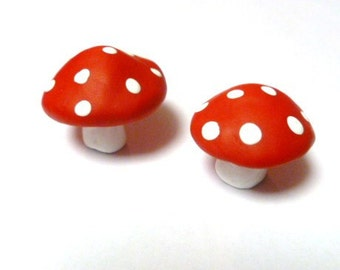 Miniature Mushrooms Set of Two in Red with White Polka Dots Perfect for Terrarium or Planter