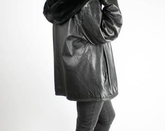 Vintage Black Leather Jacket Big Warm Hood Plush Fake Fur MADDOX Grunge Punk Alternative Hipster Retro Unique Rare Rocknroll Metal