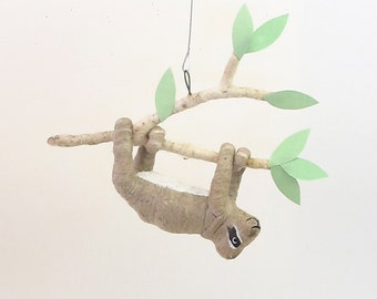 Vintage Inspired Spun Cotton Sloth Ornament (MADE TO ORDER)