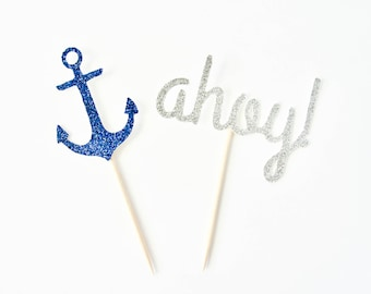 Nautical Cupcake Toppers - Nautical Baby Shower, Nautical Birthday Party, Pirate Party, Ahoy Cake Topper, Ahoy It's A Boy