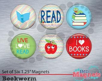 Personalized Teacher Magnets - Bookworm Gift - Class Flair - Gift for Teacher Assistant - Bookworm Stocking Stuffer - Reading Teacher