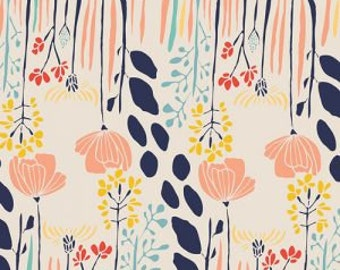 """Meadow Fabric from Leah Duncan for Art Gallery """"Summer Grove"""". Coral Flowers with Navy on Off White. 100% premium cotton. MW-70020"""