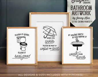 Funny bathroom art, PRINTABLE art, Bathroom wall decor, If you sprinkle when you tinkle, Bathroom prints, Flush toilet sign, Kids bathroom