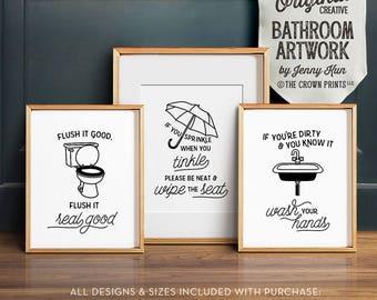 Superbe Funny Bathroom Art, PRINTABLE Art, Bathroom Wall Decor, If You Sprinkle  When You Tinkle, Bathroom Prints, Flush Toilet Sign, Kids Bathroom