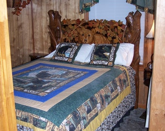 Hand Carved Queen Bed - Rustic Bear