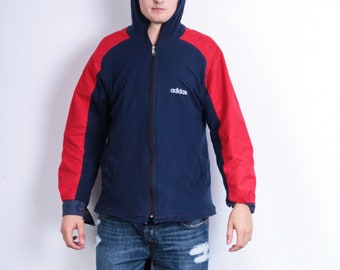 Adidas Mens S/M Jacket Double Side Navy Blue Hood