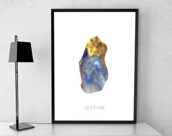Qatar poster, Qatar art, Qatar map, Qatar print, Gift print, Poster
