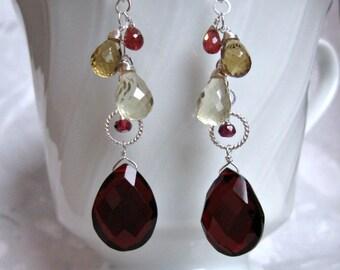 Garnet Quartz Earrings- Garnet, Quartz, Silver, Wire Wrapped