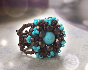 Triangular right angle weave tutorial Annie ring, beading pattern, beaded ring tutorial