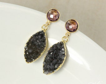 50% OFF SALE - Gold Black Druzy Leaf Earrings - Purple Amethyst Quartz Posts - Post Dangle Earrings, Black Geode Earrings