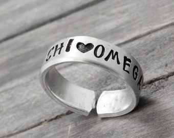 Chi Omega Ring, Sorority Ring,  Chi Omega Jewelry, Chi O Ring, Hand Stamped Ring, Personal Sorority