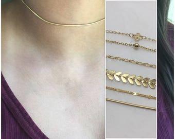 Dainty Choker, Snake Chain Choker, Gold Choker, Layered Necklace, Simple Chain Necklace, Chain Necklace, Minimal, Delicate necklace