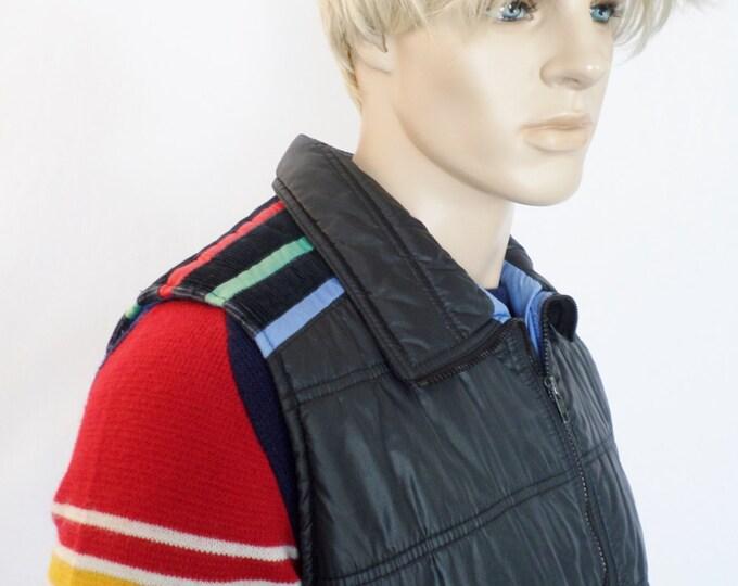 Vintage Men's XL 1970's ALPINE SKI Striped Puffer Vest HiPPiE HiPsTeR snowboard