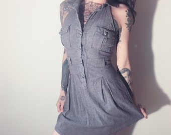 gray collared button-up dress. Women's size small