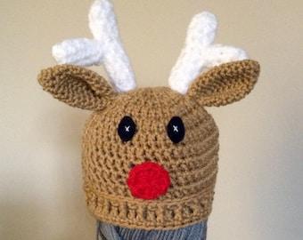 Crochet Reindeer Beanie Christmas Deer hat Baby Boy Girl Gift Photo Prop Cute Handmade Rudolph beanie