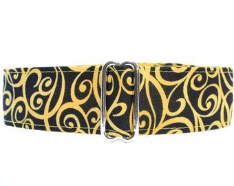 Yellow Martingale Dog Collar, Swirl Martingale Collar, 2 Inch Martingale Dog Collar