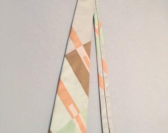 Vintage 1970s Tie, Mens Sorbet Print Necktie