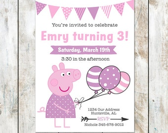 Printed Piggy and Balloons Invitation - Pig Birthday Invitation - Pink and Purple Pig Party - Printable birthday invitation