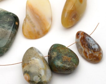 9 pcs top drilled ocean jasper nugget beads, freeform pendants, multicolor white brown green, average size 20mm